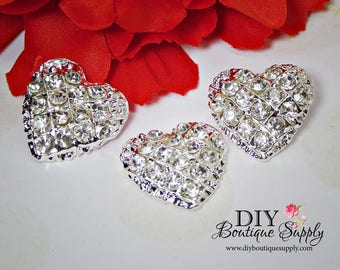 3pcs Cute Heart Rhinestone buttons Flatback  Crystal buttons Metal Embellishment Scrapbooking flower centers Hair Bow Centers 23mm N148