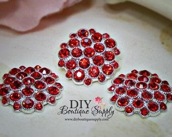 Valentine's Day RED Crystal Rhinestone buttons Metal  Rhinestone Flatback Crystal Embellishment flower centers Scrapbooking 5pcs 25mm 443061