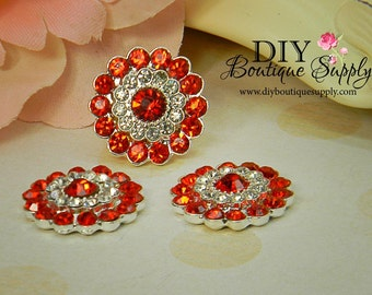 Rhinestone buttons Red & Clear crystals - Metal Embellishment - Baby Headband Supplies Bow flower centers -  5 pcs 21mm 108044