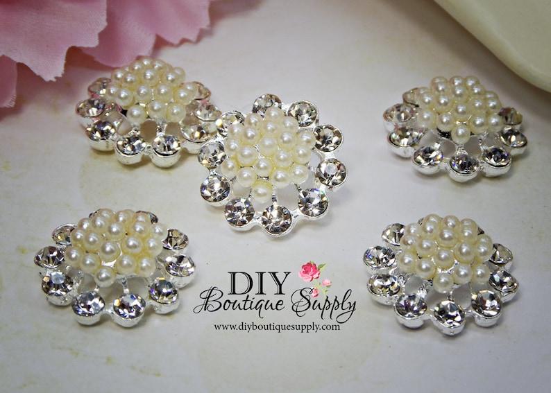 50 Rhinestone Crystal Flower Pearl Buttons Flatback Embellishment Craft 22mm