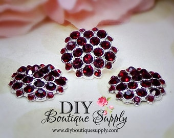Deep Garnet RED Crystal Rhinestone buttons Metal  Rhinestone Flatback Crystal Embellishment flower centers Scrapbooking 5pcs 25mm 544061