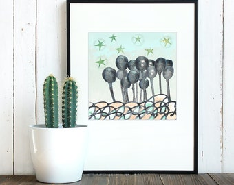 Enchanted Forest - high quality giclée print of original illustration created using homemade natural inks