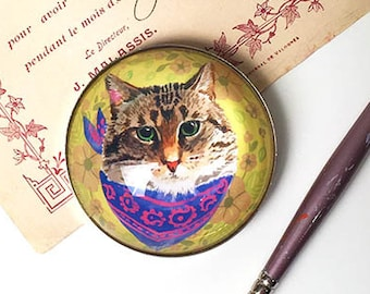 Large Cat Magnet , Cat Refrigerator Magnet, Cat Fridge Magnet, Cute Cat Magnet, Cat Face Magnet, 2 Inch Round, Cat Lover