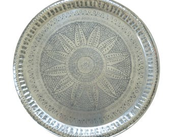 Moroccan Tin Tray with Iron Base