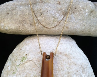 Upcycled Bakelite Necklace // Vintage Pendant // Salvaged Chain // OOAK
