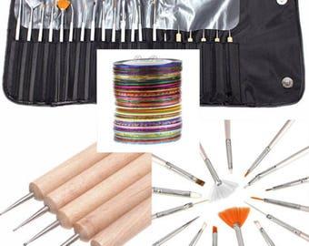 40pcs Nail Art Tool Kit Set Dotting + Striping Tape + Brush + Case