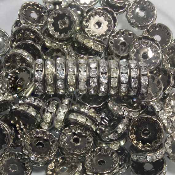 100x Rhinestone Rondelle Spacer Beads Bracelet Necklace Jewelry Findings 6mm