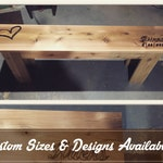 Cedar Wedding Bench, custom made and engraved.