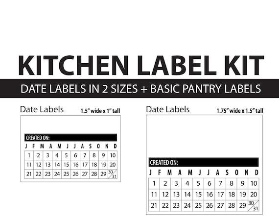 Kitchen Label Kit, Date Labels, Modern Pantry Labels, Printable PDF, easy to use food labels, Food Storage, Organize, kitchen, freezer
