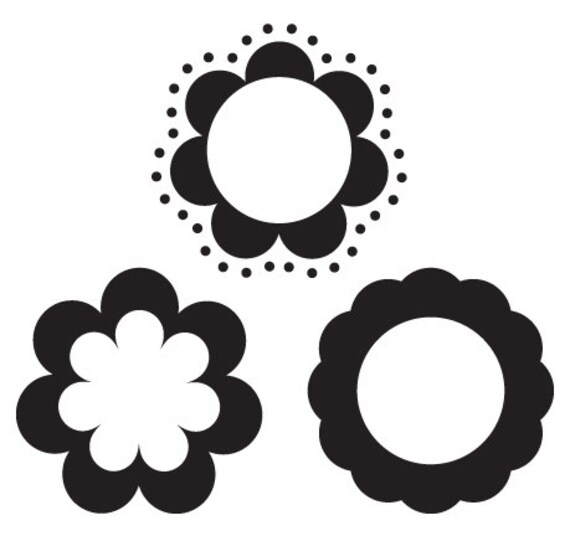 Circle Frames with Flower Border - 3 Digital Stamps