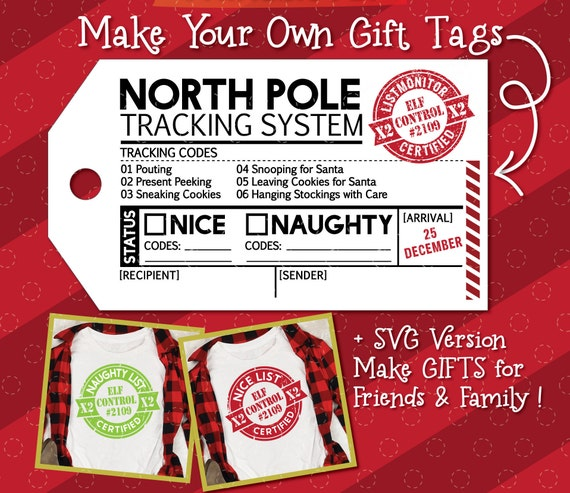 Christmas Gift Tag, North Pole Tracking System Bundle, Naughty and Nice Stamp Certified SVGs, North Pole Tracking SVG,  Printable Gift Tag