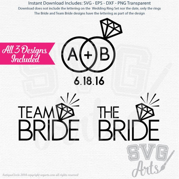 Team Bride, The Bride + Wedding Rings - SVG - EPS - DXF & Png Files for print and cutting
