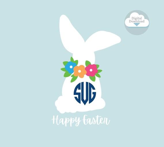 Bunny SVG, Easter Bunny Silhouette, cute bunny cut file, Easter SVG, Bunny Monogram, cricut cut file, studio file