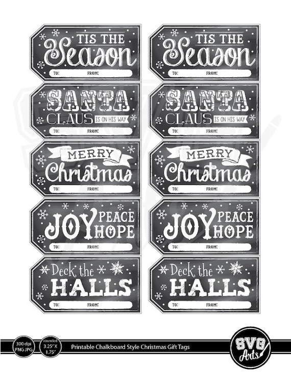 Printable Christmas Gift Tags - Chalkboard Style INSTANT DOWNLOAD