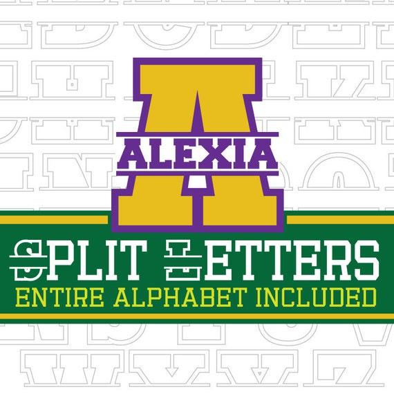 Varsity Split Letters svg, collegiate letters svg, large letters svg, initials svg, id svg, name svg, split letters svg