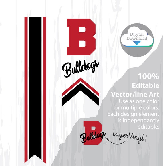 """Cheer Bow Template - BULLDOGS - Stripes & Arrow Tails svg for Vinyl Heat Transfer 3"""" Layout, 5/8"""" Tails FREE Printable PDF how to make a bow"""