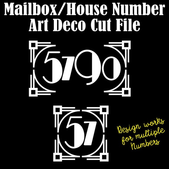 Mailbox Numbers - Art Deco Number Cut Files for Standard Mailboxes and House Numbers, Modern House Numbers SVG EPS DXF