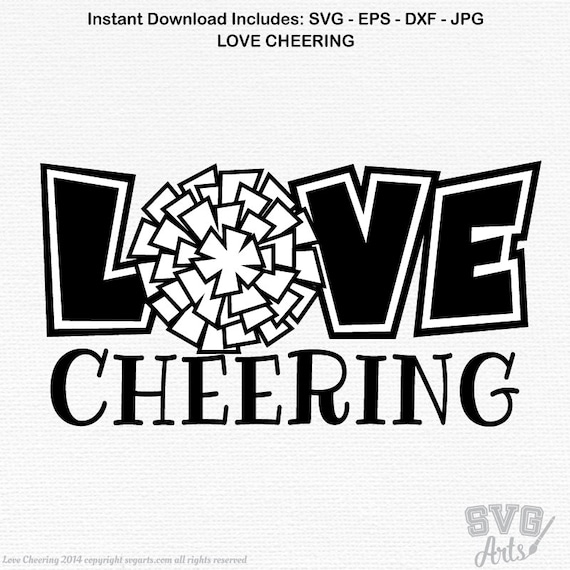 Cheerleading svg, LOVE CHEERING svg, eps, dxf, pom poms svg, pom poms dxf