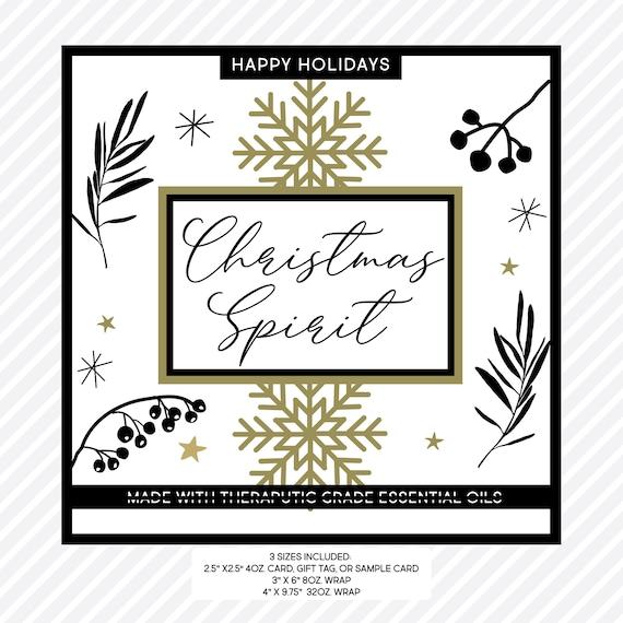 Holiday Labels |  Essential Oil Label | Christmas Spirit | Room Spray Label | Bottle Label Bundle - 3 Sizes 4oz 8oz 32oz | Printable PDF