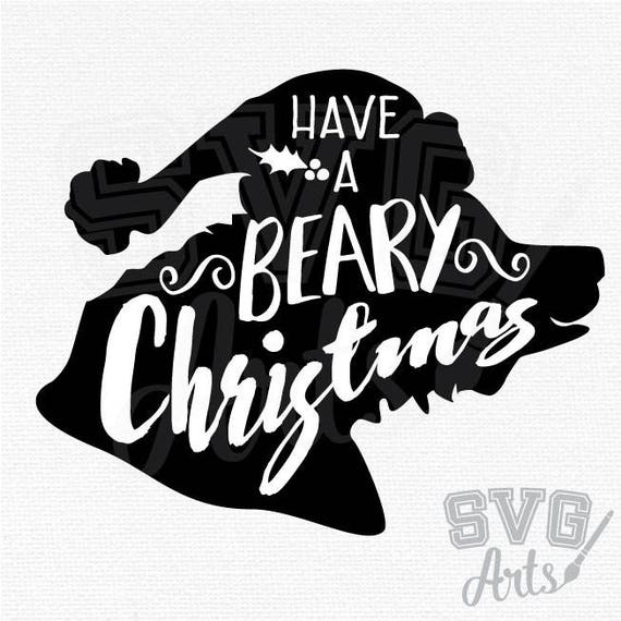 Christmas Bear Design - Perfect for adding to T-shirts, Pillows, Making Christmas Posters and more! Bear Cut File - SVG, DXF, EPS