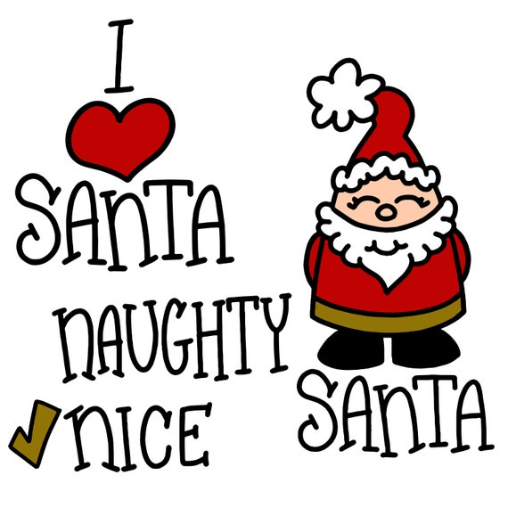 Santa SVG Bundle, Christmas SVG, Christmas Bundle Pack,  Santa cartoon, Santa handlettering, design, Santa, I heart santa