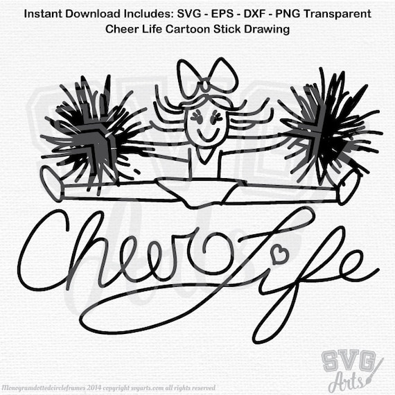 Cheerleader svg,  Cheer Life cheerleader Drawing in SVG, EPS and DXF files for printing, cutting machines, htv and vinyl decals