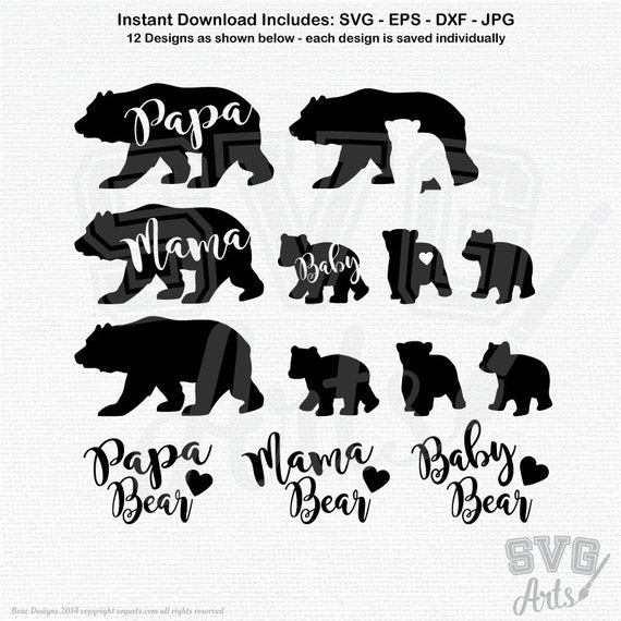 Bear svg, bear svg bundle, Mama bear svg & Papa Bear svg with 3 Baby Bear svg Designs + hand-lettered text, Baby, Brother, Sister bear svg