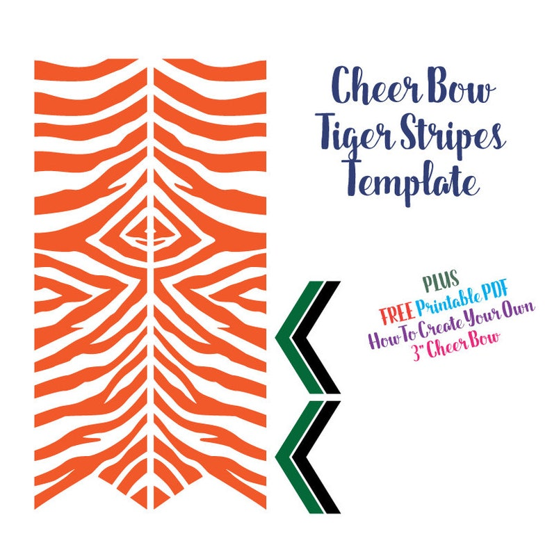 Cheer Bow Template - Tiger Stripes for Vinyl Heat Transfer 3