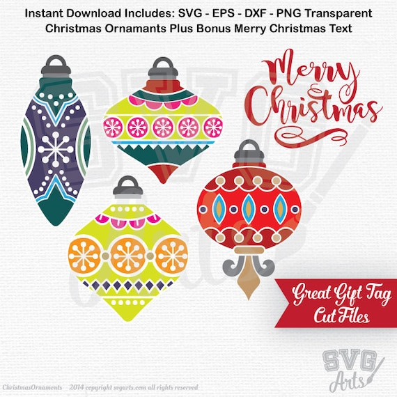 Christmas Ornaments SVG, EPS, DXF files, Ornament Design and Merry Christmas svg Cut Files