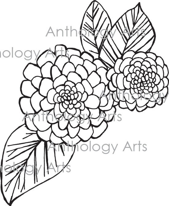 Flower SVG, Dahlia Bouquet Collection - Digital Stamp - PNG JPG eps Flowers Floral Lineart Rustic Country