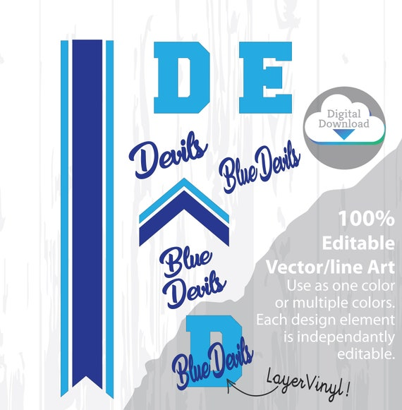 """Cheer Bow Template - DEVILS - blue devils - Stripes & Arrow Tails SVG cutfiles, 3"""" Layout, 5/8"""" Tails - free Printable PDF how to make bow"""