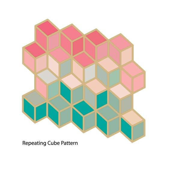 Geometric Pattern - Repeatable Geometric Cube Pattern - Stencil Cut File - SVG, DXF, Studio, Cricut and Silhouette