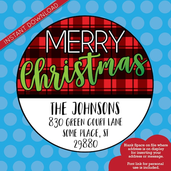 Printable PNG, Merry Christmas Sticker, Christmas Address Label, Buffalo Plaid, Red and Black Plaid, Printable Download Address Overlay