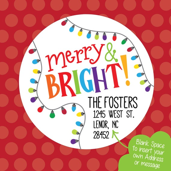 Printable PNG, Merry & Bright Sticker, Christmas Address Label, Printable Download Cricut Avery Address Sticker Photo Overlay