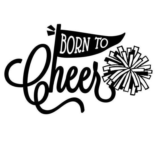 Cheerleading svg, Born to Cheer text, Pennant Flag, and Pom Poms are Separate SVG elements that are easy to cut