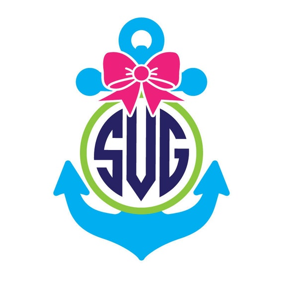 Anchor Bow SVG and DXF files, anchor svg, preppy monogram svg, bow svg, nautical svg, preppy svg