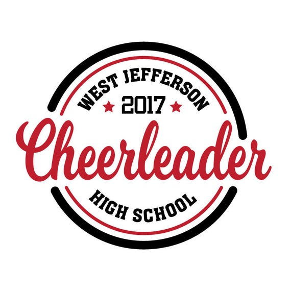 Customized Cheerleader SVG or Iron-on Heat Transfer - Personalized to your School Name - Cheer SVG