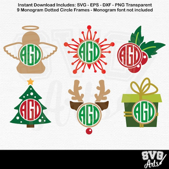 Christmas svg Bundle, raindeer SVG - DXF  Christmas Monogram frame Bundle Pack - Angel svg, Holly svg, Snowflake svg, Tree svg, Rudolph svg