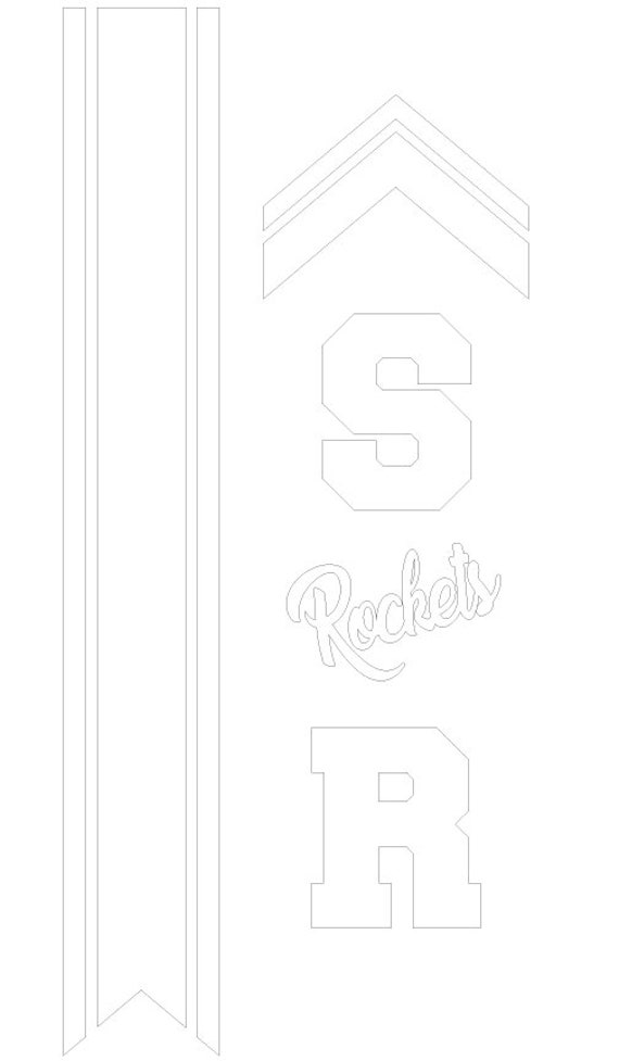 "Cheer Bow Template - Stripes & Rockets with S and R letters Icon for 3"" Ribbon plus 5/8"" Tails - FREE Printable PDF DIY Cheer Bow Guide"