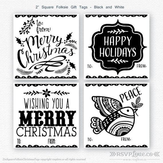 Printable To From Gift Tag , Folksie Black and White Christmas Gift Tags -  PDF INSTANT DOWNLOAD