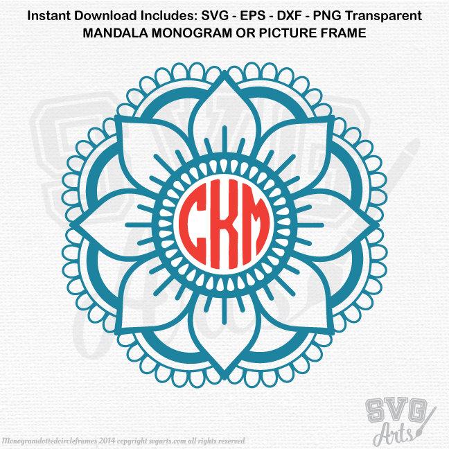 Mandala SVG - EPS - DXF & Png - 1 Mandala Monogram Frame Design