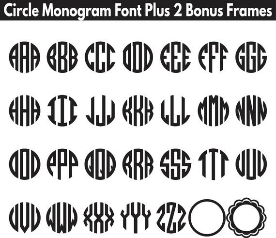SVG Circle Monogram Letters plus 2 bonus circle frames, monogram svg, circle monogram, circle letters, round monogram svg letters