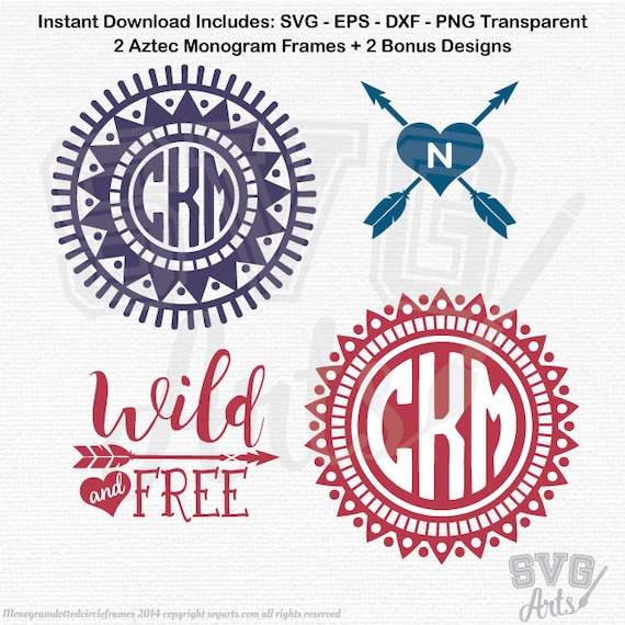 Boho svg Monogram Frame Cut Files - SVG - EPS - DXF & Png - 2 Southwestern svg Frame Designs + 2 Bonus svgs wild and free