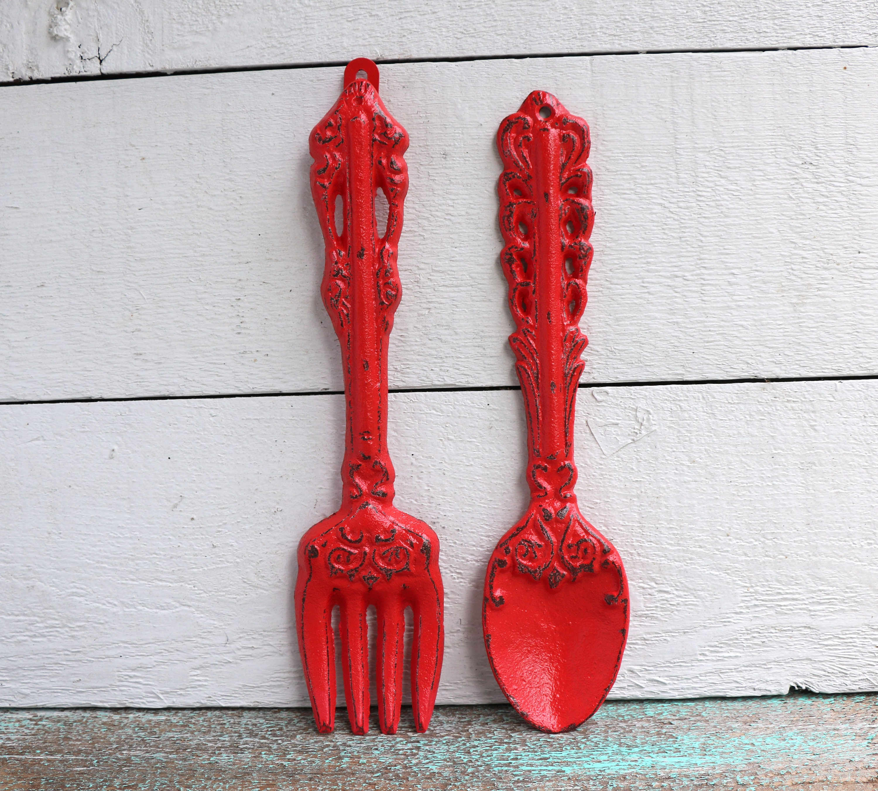 Kitchen Wall Decor Fork And Spoon: Red KItchen Decor Fork And Spoon Wall Decor Utensil Wall