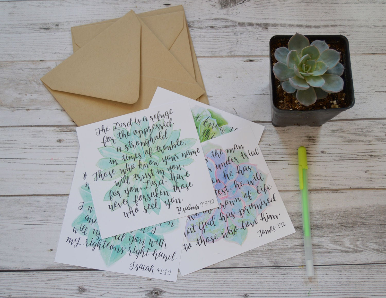 Succulent Scripture Greeting Cards Succulent Scripture Etsy