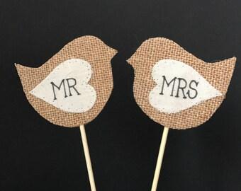 Mr & Mrs lovebird wedding cake topper, hessian and calico bird cake topper suitable for romantic vintage wedding