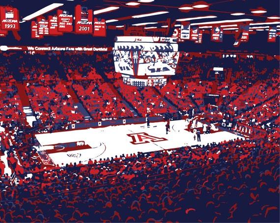 University Of Arizona Mckale Center Basketball Arena Print Wildcats Man Cave Fathers Day Graduation Groomsman Basketball Wall Art