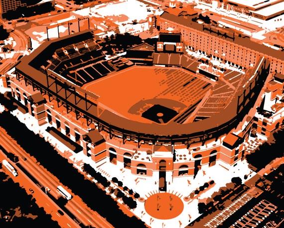 Framed Baltimore Orioles Memorial Stadium and Camden Yards Aerial Prints Set of 2
