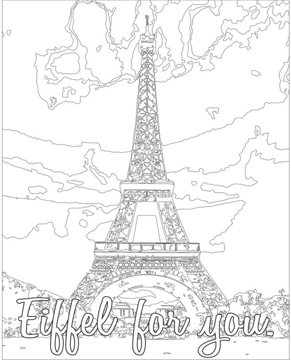 Adult Coloring page Color Therapy Digital Download Eiffel | Etsy