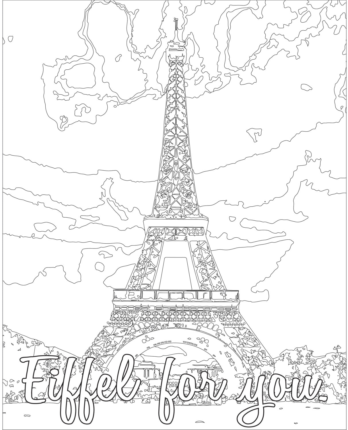 Stunning Eiffel Tower Coloring Page - Download & Print Online ... | 1500x1213
